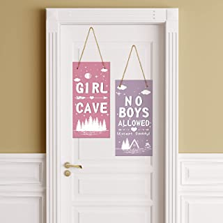 2 Pieces Little Girl Cave Sign Toddler Girl Vertical Wall Hanging Sign No Boys Allowed Wooden Sign Kids Room Door Decor fo...