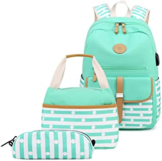 MITOWERMI 3 in 1 Kids Backpack Set Girls Canvas Bookbags Striped Prints College Casual Daypack with Lunch bag