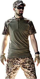 Image of LXYFMS Desert Camouflage Pop Casual Suit Summer Short Sleeve Camouflage Pants Jungle Hidden Hunting Sports Mountaineering Riding Camouflage Suit (Size : M-M)