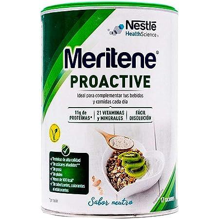 Meritene® PROACTIVE - Ingredientes con beneficios sobre el tono muscular, la salud ósea, el sistema inmune y madurez de la mujer - Sabor Neutro - Bote ...