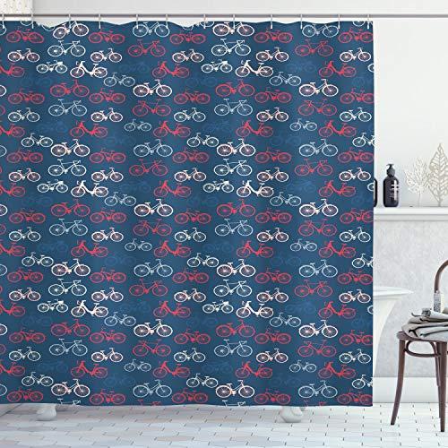 ABAKUHAUS Fahrrad Duschvorhang, Fahrrad-Skizzen auf Blau, mit 12 Ringe Set Wasserdicht Stielvoll Modern Farbfest & Schimmel Resistent, 175x200 cm, Mehrfarbig
