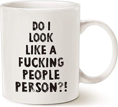 Funny Coffee Mug, Do I Look Like a People Person Porcelain Cup, White 11 Oz