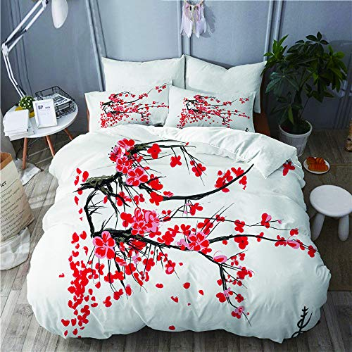 QINCO bedding-Duvet Cover Set,Sakura Blossom Jardin de cerisiers Japonais Summertime Vintage,Microfibre 135x200 with 2 Pillowcase 50x80,Single
