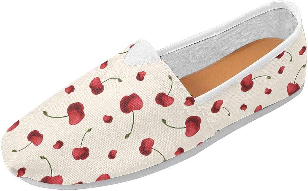 InterestPrint Sweet Cherries Women's Go Walk Slip-On Loafers Casual Shoes