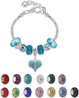 White Birch Charm Bracelets for Women and Girls - Fit Pandora Bracelet DIY Jewelry Blue