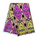ADWAXDA African Wax Fabric 6 Yards Polyester New Ankara African Material Cloth Ethnic Print Fabric for Women Clothing Party Dress(FP020)