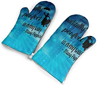 not Eudra Middleton Mary Poppins Oven Mitts with Polyester Fabric Printed Pattern,1 Pair of Heat Resistant Oven Gloves for Cooking,Baking,Grilling,Barbecue Potholders