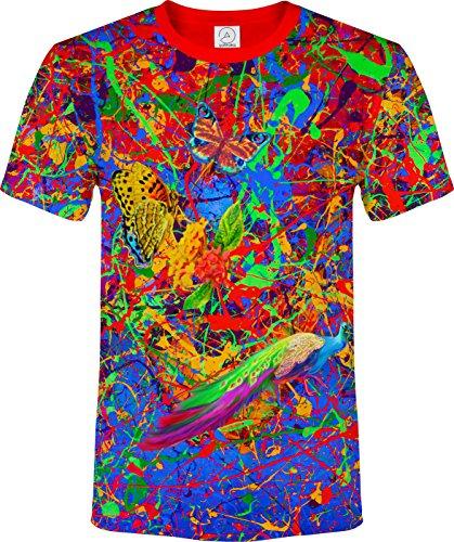 スプラッシュ フラミンゴ バタフライ ライオン 蛍光の ネオン ブラックライト 反応性 Tシャツ