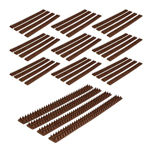 Relaxdays 40x Vogelabwehr, je 49 cm, mit Spikes, Gesamtlänge 20 m, witterungsresistent, Tierabwehr für Zäune & Mauern, Dunkelbraun