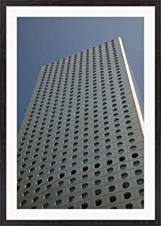 Low Angle View of a Building, Jardine House, Central District, Hong Kong Island, Hong Kong by Panoramic Images Framed Art Print Wall Picture, Espresso Brown Frame, 33 x 47 inches