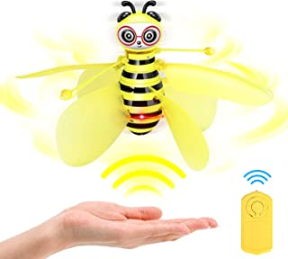 Auryee Flying Ball Bee Toys,RC Infrared Induction Drone Helicopter with Shinning LED Light Hand-Controlled Flying Kids Toy for Age 3 4,5,6,7,8,9,10+Year Old Kid,Boys,Girls,Child Toy for Outdoor Indoor