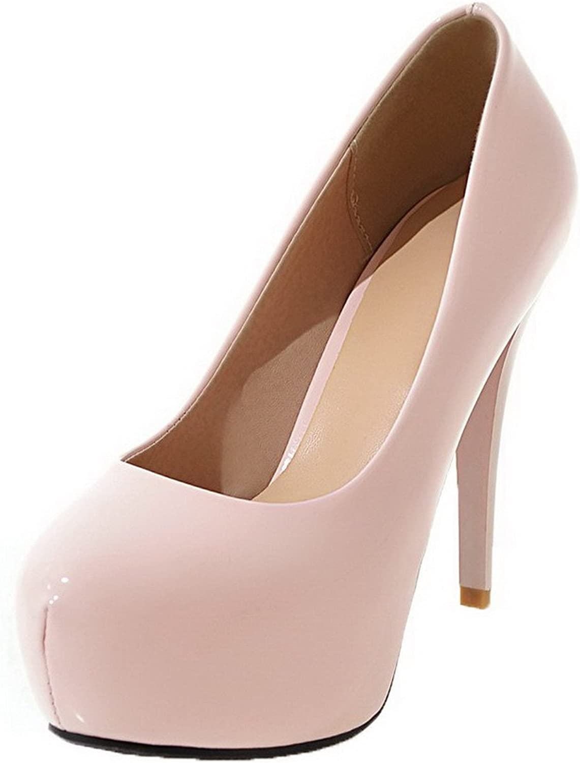 AmoonyFashion Women's Solid PU High-Heels Round-Toe Pull-On Pumps