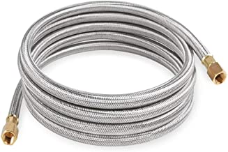 SHINESTAR 12 Foot Propane Hose Assembly, Braided Stainless Steel Propane Extension Hose - 3/8inch Female Flare x 3/8inch Female Flare Fittings for RV, Gas Grill, Fire Pit, Heater and More