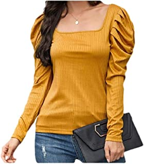Winwinus Women Blouse Fitted Solid Colored Long Sleeve Trendy T-Shirt Top