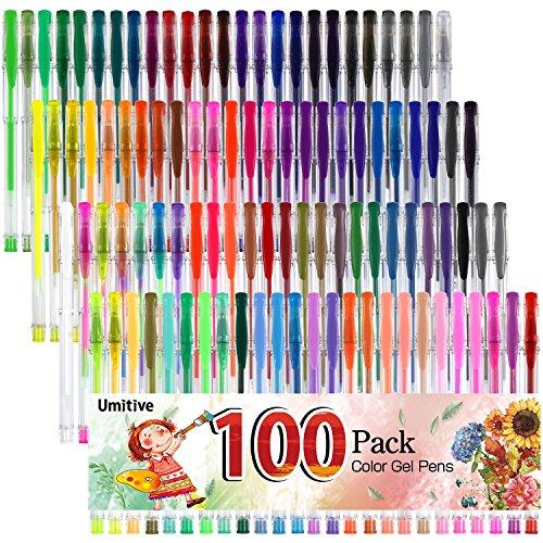 Umitive 100 Bolígrafos Gel Colores, De Tinta Gel , Punta Fina Sin Derrames , Vibrantes Colores-Purpurina, Metalizados, Pastel, Neón, Para Libro De Colorear,  Dibujo, Escritura y Garabatos