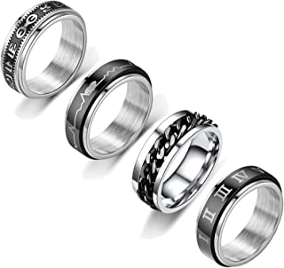 HUASAI Anxiety Rings for Women Fidget Band Rings Cool Stress Relief Spinner Rings Triple Interlocked Rings Roman Numerals ...