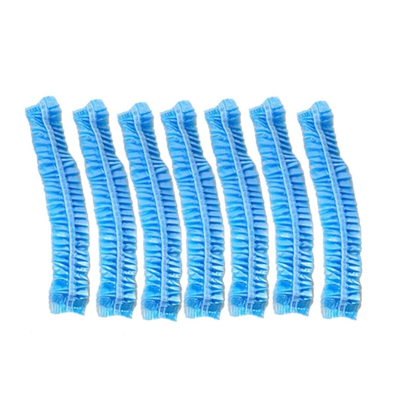 面倒かんがいメンタルXigeapg 100個スパヘアサロン用クリア使い捨てプラスチックシャワーバスキャップホテル/家庭用 (ブルー)