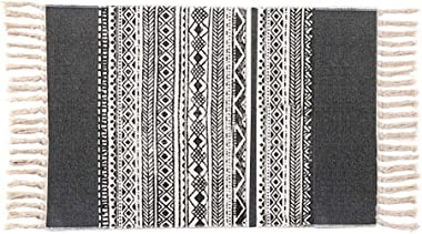 Yougoo Cotton Area Rug,2'x3' Hand Woven Fringe Print Tassels Throw Rugs Carpet Door Mat Indoor Area Rugs for Bathroom,Bedroom,Living Room,Laundry Room (Dark Grey)