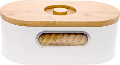2-in-1 Modern Bread Box with Bamboo Cutting Board Lid - Space Saving Bread Bin by Mindful Design (White)