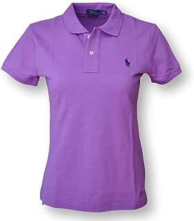 Women's Skinny Mesh Polo Shirt, Purple, Small