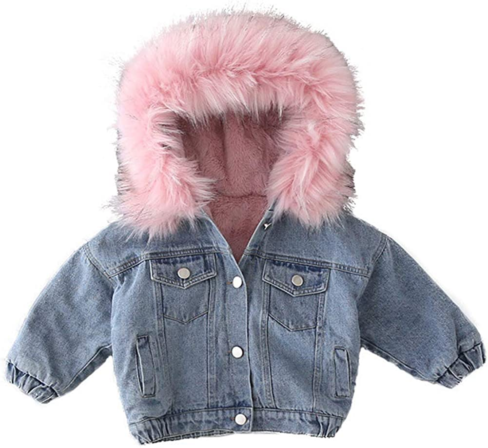 Toddler Girls Faux Fur Collar Fleece Thicken Denim 67% OFF Max 58% OFF of fixed price Hooded Jacket