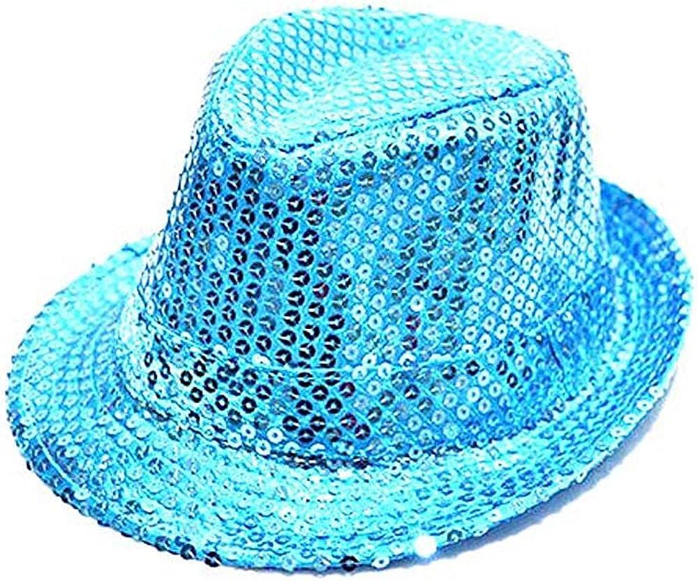 Children Adult Glow LED Flashing Sequins Jazz Hats Fedora Hat Cap Neon Party Show Dance Birthday Wedding Night Club