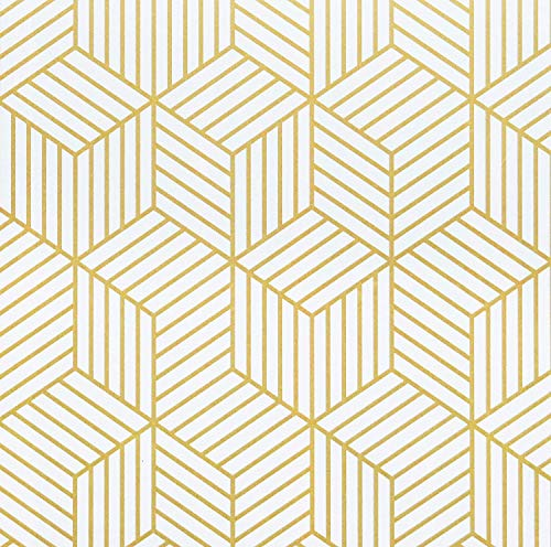 17.7''x78.7''White and Gold Geometric Wallpaper Gold Hexagon Contact Paper Gold Stripes Removable Self Adhesive Wallpaper Geometric Hexagon Peel and Stick Wallpaper for Wall Cabinet Vinyl Roll