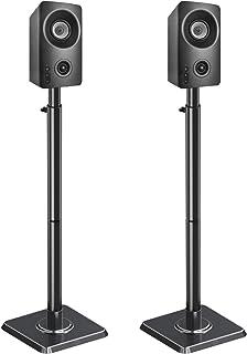 Mounting Dream Height Adjustable Bookshelf & Desktop Vizio, Bose, Sonos, Polk, JBL, Sony, Speaker Stands Pair with Wire Ma...