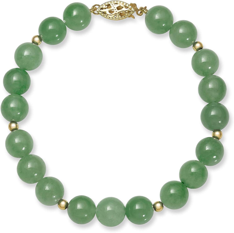 14k Gold Natural Green Jade Bead Bracelet for Women