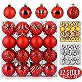 Zogin Adornos de Adornos navideños Bolas de árboles de Navidad Decoraciones para Navidad Decoración y Fiestas (Rojo, 32piezas-6cm)