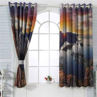 hengshu Wide Tap Blackout Shades Curtains Aerial View of Mountain Range with Creek Northern Horizon Idyllic Art Image for Window Curtains Valances W72 x L96 Inch Slate Blue Orange