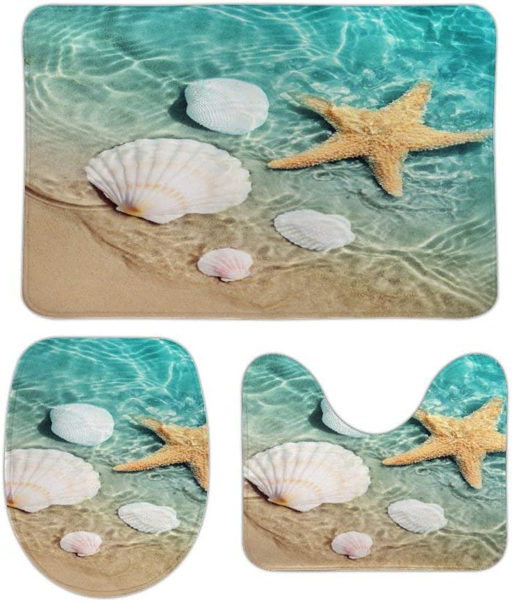 Bathroom List price Rugs and Mats Sets 3 The Piece Cheap SALE Start Starfish Seashell On