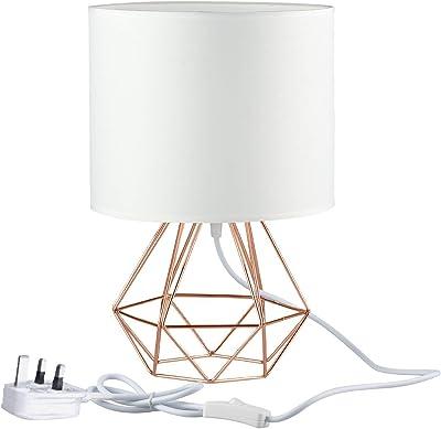 Modern Desk Lamp Mini - FRIDEKO HOME Vintage Industrial Table Lamp Diamond Cage Shade Lighting for Living Room Bedroom Coffee Table (21cm, White&Rose Gold)