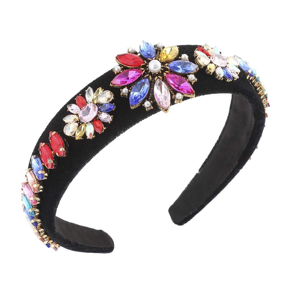 AWAYTR Velvet Padded Rhinestone Baroque Headband - Large Padded Cloth Races Goth Wedding Headpiece for Women (Colorful Crystal #1)