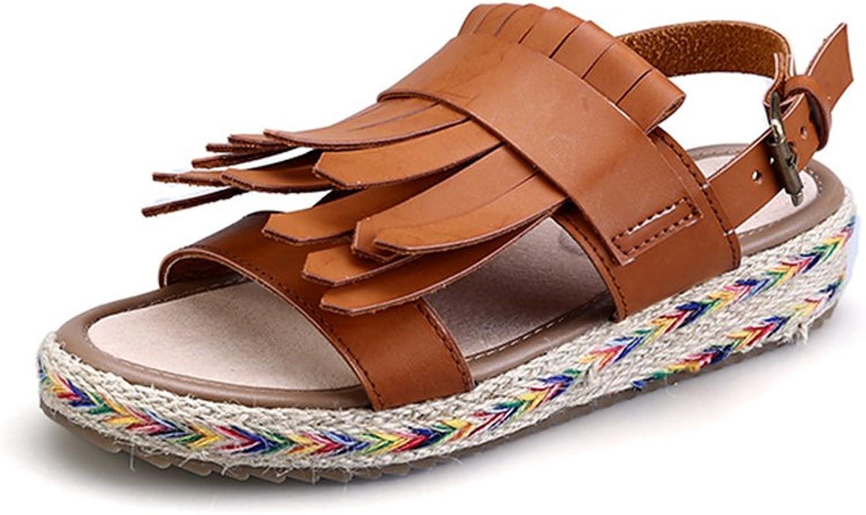 Gusha Elegant Tassels shoes shoes Fashion Women Slip Toe Straw Sandals Buckle