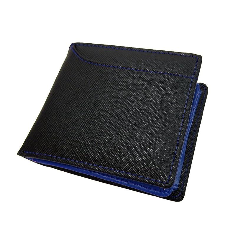 生き残りますアーティスト通常[マトゥーリ]Maturi イタリアンレザー サフィアーノ カードスロット付き 二つ折り財布 MR-057 BK/BL