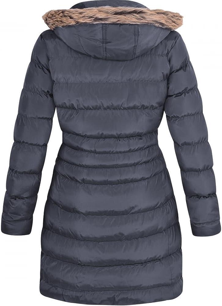 Spindle Damen Winterjacke, lang, Fellbesatz, mit Kapuze, gepolstert marineblau