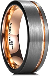 King Will Loop Tungsten Carbide Wedding Ring 7mm/8mm Rose Gold/Gold Line Grooved Flat/Dome Style