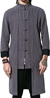 RkBaoye Men Tai Chi Retrol Buckle Plus Size Casual Loose Jacket Coat