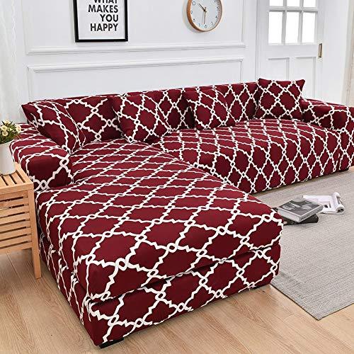 Funda en Forma de L, Funda de sofá de Esquina, Funda de sofá elástica para Sala de Estar, Funda de sofá elástica 1/2/3/4 plazas A15 2 plazas