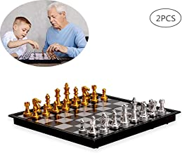 YUSDP Juego de ajedrez magnético Plegable de 2 Piezas para niños Adultos, Juegos de ajedrez portátiles de 10 Pulgadas, Tablero de Juego, Mesa Plegable y Bolsos de Tienda Aprendiz enérgico