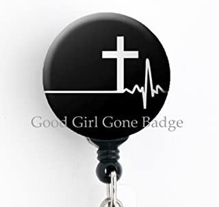 EKG Cross - Retractable Badge Reel with Swivel Clip and Extra-Long 34 inch Cord - Badge Holder