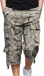 Hzcx Fashion Mens Washed Cotton Long Capris Multi-Pockets Casual Cargo Shorts