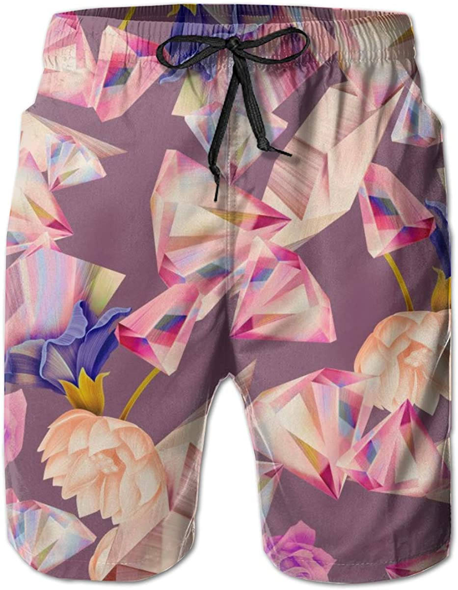 Men Summer Beach Board Shorts Swim Trunks with Pockets (Colorful Diamond Pattern with Rose Flower)