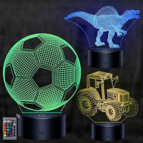 3D Illusion Nachttisch Lampe, mixigoo 3D LED Licht Nachtlicht mit Fernbedienung und 16 Farbwechsel Fußball/Traktor/Dinosaurier Nachtlichter Dekoration Nachttischlampe für Kinder Weihnachten Geschenk