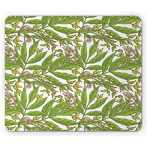 Natuur Olijfboom Middellandse Zee Biologisch Voedsel Bloeiende Bloemen Condimenten, Antislip Rubber Mousepad, 25x30cm Limoen Groen en Roze