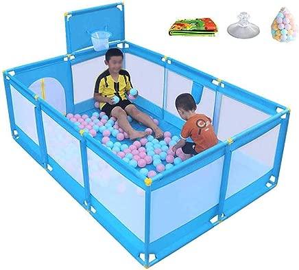 LXDDP Play yard Blue Mattress with Balls Baby Playpen with Basketball Hoop Toddler Nursery Center Playard