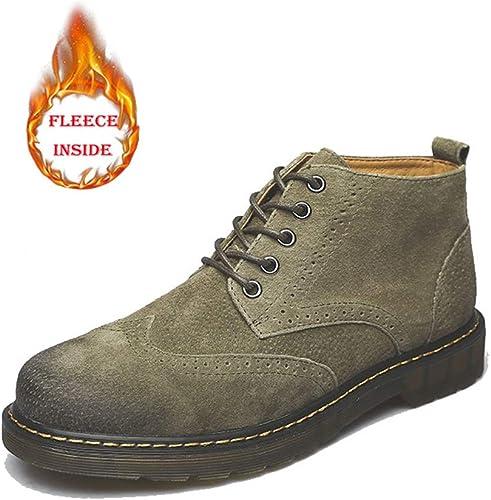 JIALUN-des Chaussures Chaussures Bottes de Cheville Classiques pour Hommes Décontracté Retro Bottes Confortables et Portables (Velours Chaud en Option) (Couleur   Warm vert, Taille   42 EU)  obtenir la dernière