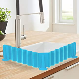 Nuovoware Sink Water Splash Guard, Food Grade Silicone, Stretchable, Anti-Water Splash Guard Baffle Board with Suction Cups for Washing Dishes Vegetables Kitchen Sink Bathroom Basin Faucet, Blue