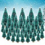 AFASOES 35 Pcs Mini Arbolitos de Navidad Decorados Mini Pino Navideño Pino Miniatura Mini Árbol de Navidad Pequeño con Bases de Madera para Decoración de Navidad Escritorio, Altura 4.5/6/8.5/12.5cm